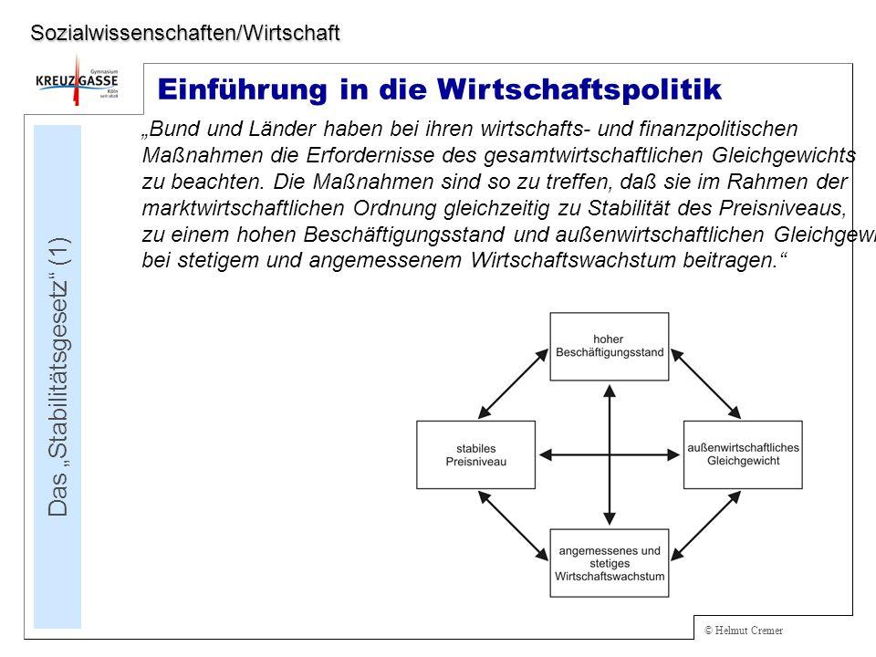 © Helmut Cremer Einführung in die Wirtschaftspolitik Das Stabilitätsgesetz (1) Sozialwissenschaften/Wirtschaft Bund und Länder haben bei ihren wirtschafts- und finanzpolitischen Maßnahmen die Erfordernisse des gesamtwirtschaftlichen Gleichgewichts zu beachten.