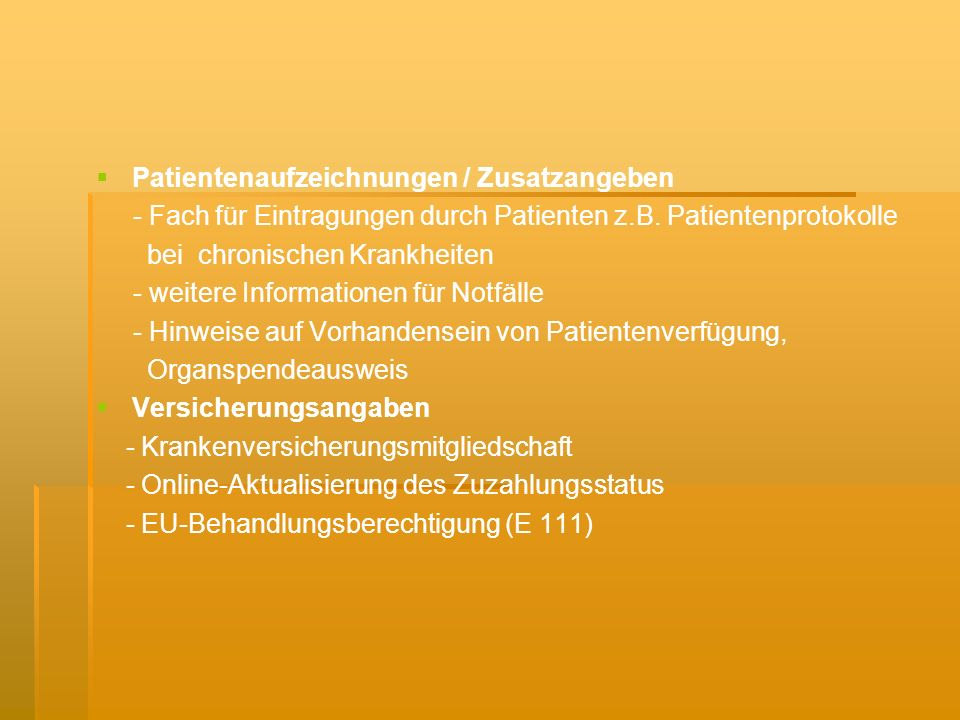 EuroMed CD - ist ein Mini CD-System, welches folgende Kriterien erfüllt: komplettes Darstellungsvermögen bei den medizinischen Informationen, maximale Flexibilität für zukünftige Erweiterungen und Funktionen, höchstes Ausmaß an Datensicherheit zu Gunsten des Patienten - Daten werden einerseits in bestimmten Zugangsberechtigungskategorien auf der CD gespeichert, andererseits auf einem dezentralisierten Server gespeichert OncoCard - dient der Tumorverlaufsdokumentation durch eine Online - Fortschreibung des Erkrankungsstatus - kann: den Patienten identifizieren, pseudonymisieren, sichere Verbindung zum zentralen Datenbankserver aufbauen, nochmalige Einwilligung des Patienten bei jeder Dokumentation fordern - es werden folgende Parameter und Sachverhalte erfasst: Tumorlokalisation (C-Code), Histologie (M-Code), TNM - Status (incl.