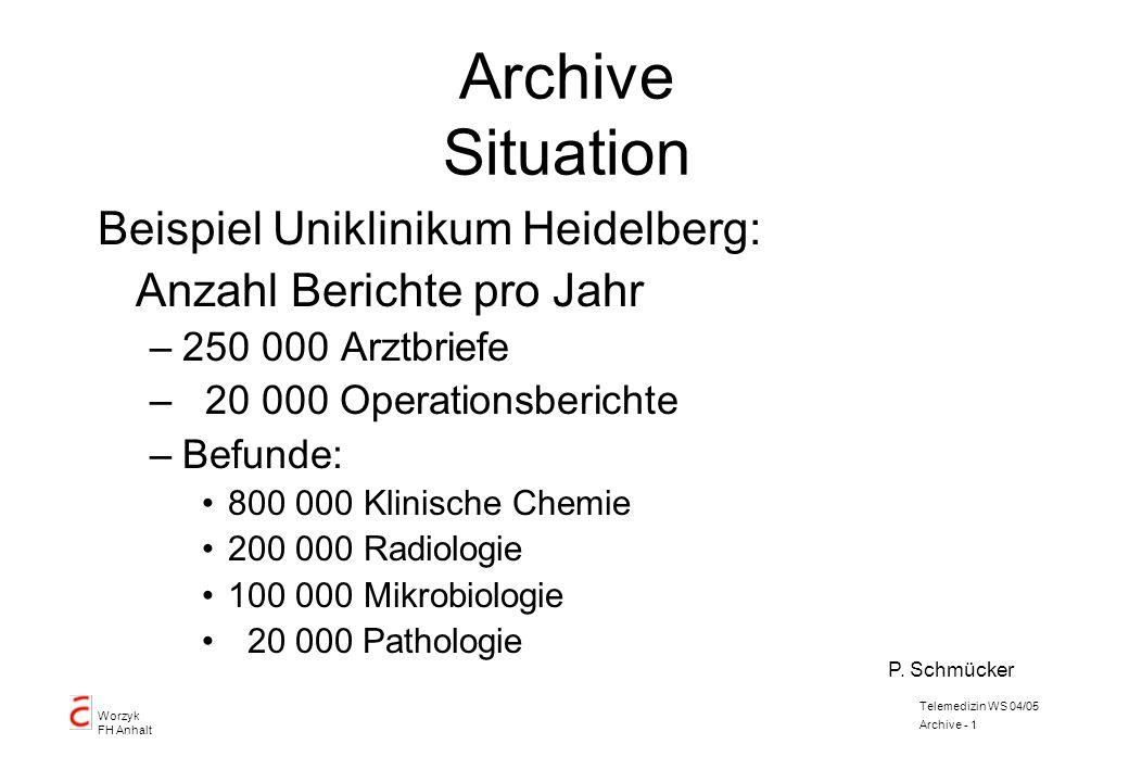 Worzyk FH Anhalt Telemedizin WS 04/05 Archive - 1 Archive Situation Beispiel Uniklinikum Heidelberg: Anzahl Berichte pro Jahr –250 000 Arztbriefe – 20
