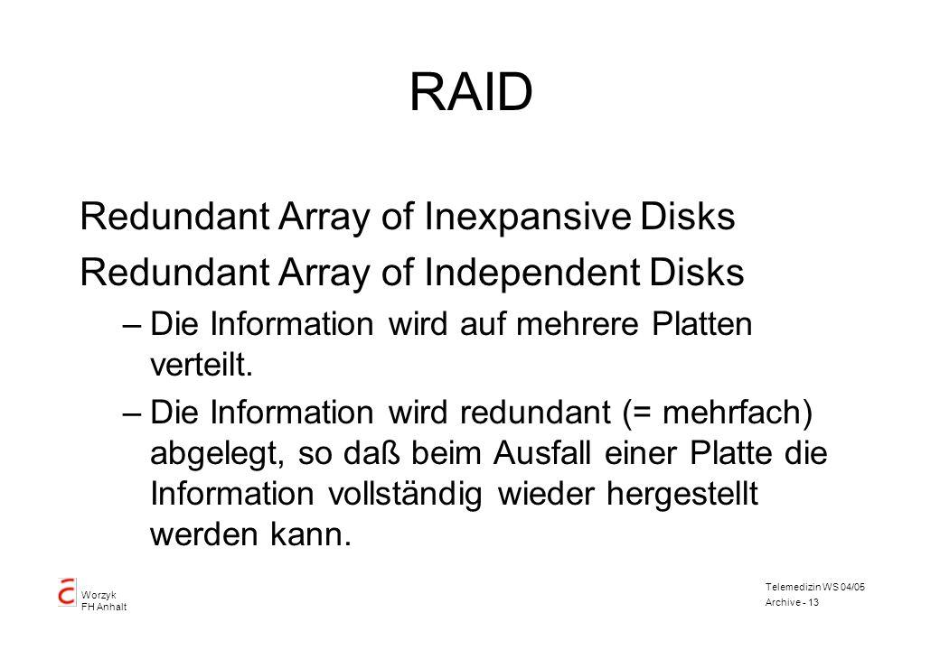 Worzyk FH Anhalt Telemedizin WS 04/05 Archive - 13 RAID Redundant Array of Inexpansive Disks Redundant Array of Independent Disks –Die Information wir