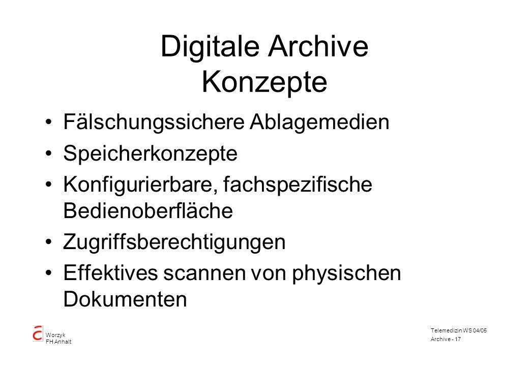Worzyk FH Anhalt Telemedizin WS 04/05 Archive - 17 Digitale Archive Konzepte Fälschungssichere Ablagemedien Speicherkonzepte Konfigurierbare, fachspez