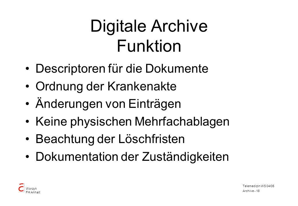 Worzyk FH Anhalt Telemedizin WS 04/05 Archive - 18 Digitale Archive Funktion Descriptoren für die Dokumente Ordnung der Krankenakte Änderungen von Ein