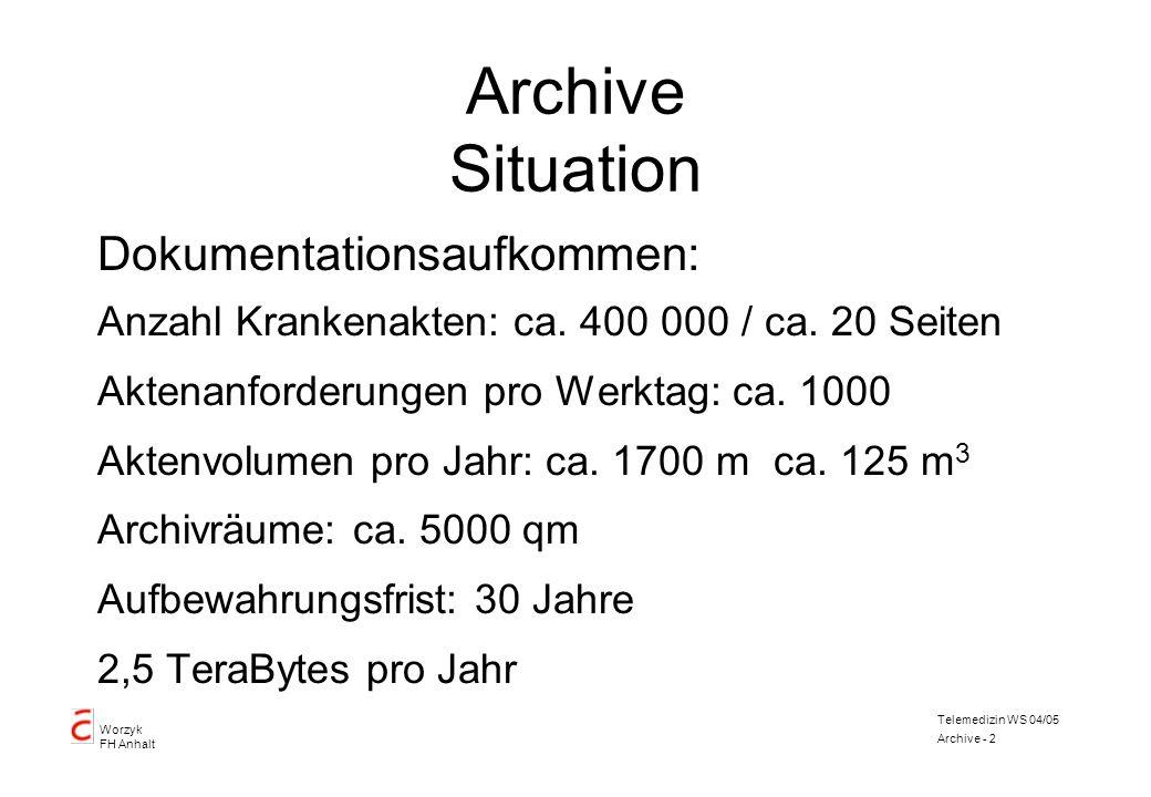 Worzyk FH Anhalt Telemedizin WS 04/05 Archive - 2 Archive Situation Dokumentationsaufkommen: Anzahl Krankenakten: ca. 400 000 / ca. 20 Seiten Aktenanf