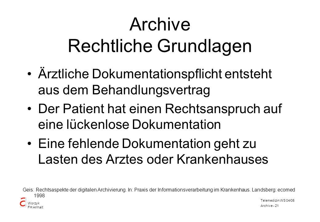 Worzyk FH Anhalt Telemedizin WS 04/05 Archive - 21 Archive Rechtliche Grundlagen Ärztliche Dokumentationspflicht entsteht aus dem Behandlungsvertrag D