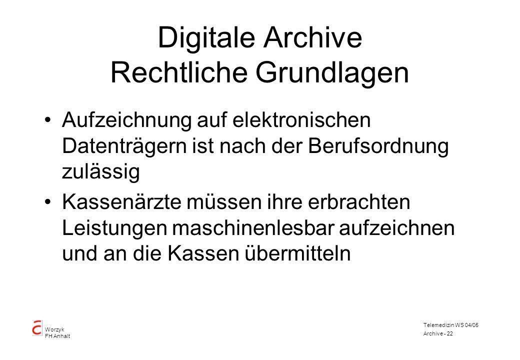 Worzyk FH Anhalt Telemedizin WS 04/05 Archive - 22 Digitale Archive Rechtliche Grundlagen Aufzeichnung auf elektronischen Datenträgern ist nach der Be