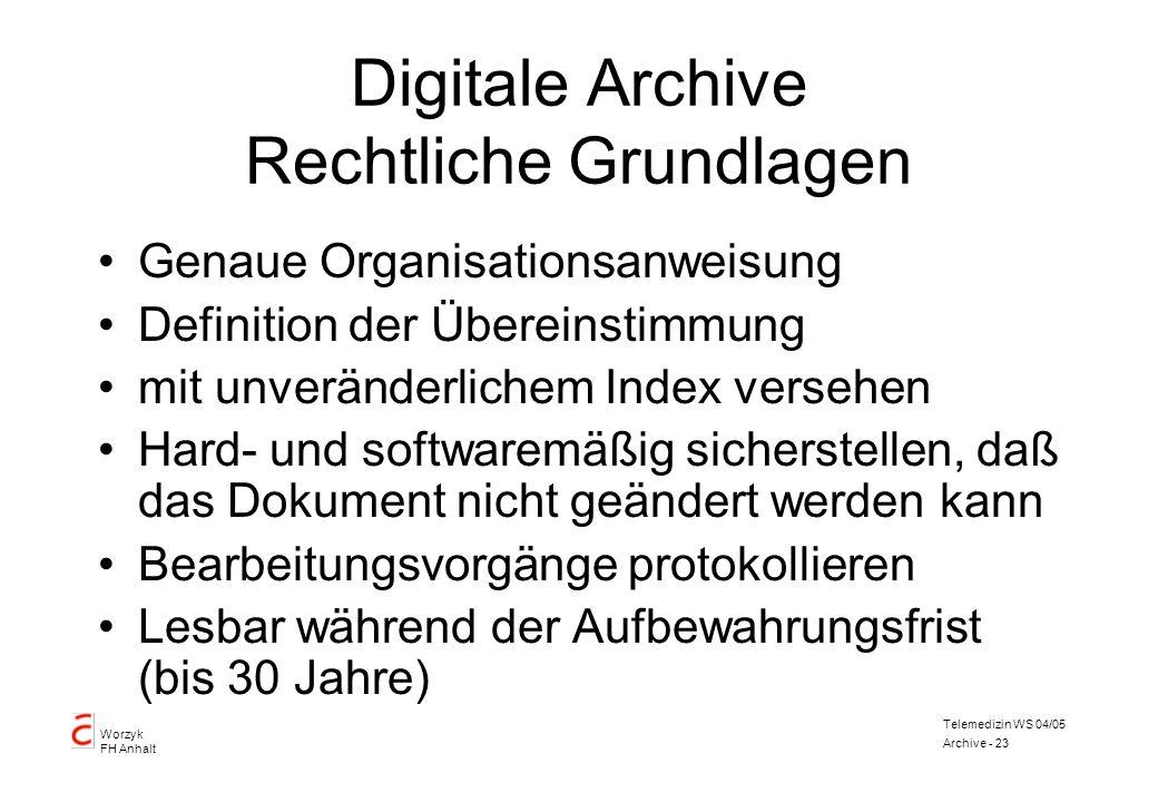 Worzyk FH Anhalt Telemedizin WS 04/05 Archive - 23 Digitale Archive Rechtliche Grundlagen Genaue Organisationsanweisung Definition der Übereinstimmung