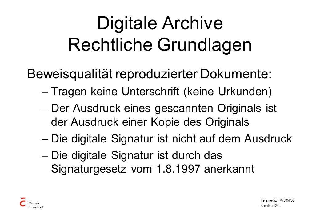 Worzyk FH Anhalt Telemedizin WS 04/05 Archive - 24 Digitale Archive Rechtliche Grundlagen Beweisqualität reproduzierter Dokumente: –Tragen keine Unter