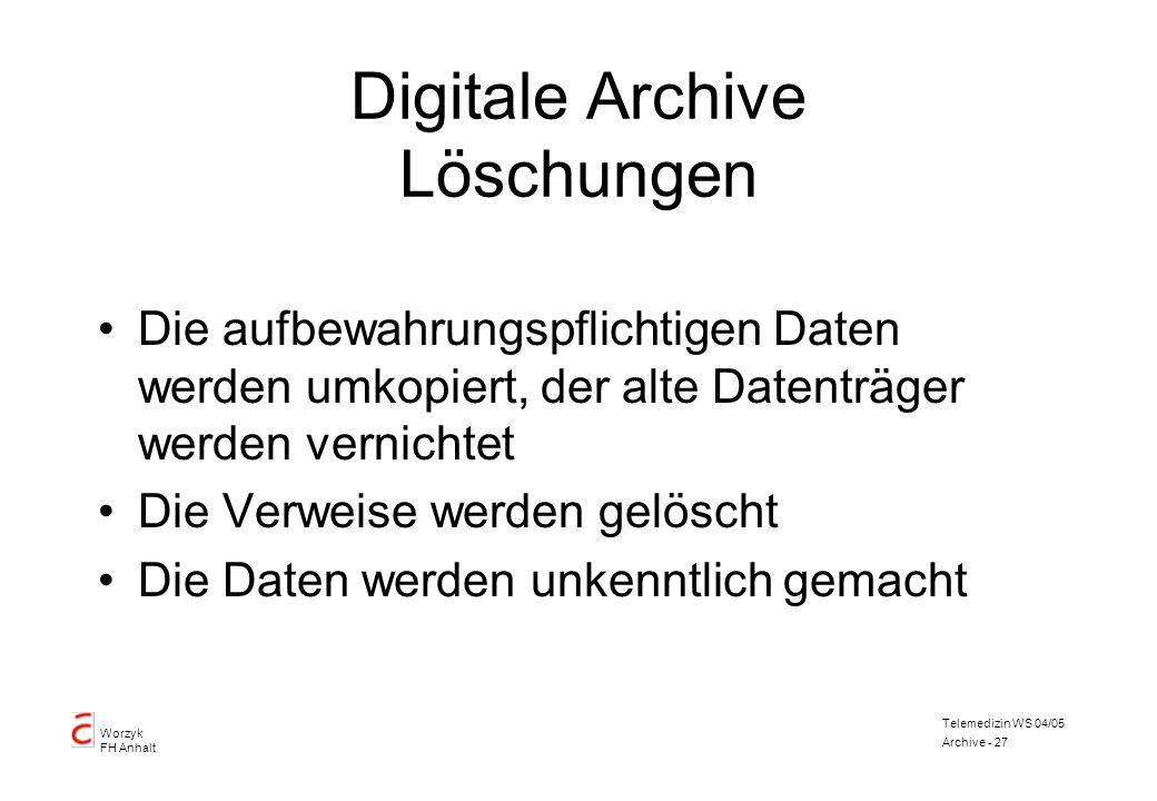 Worzyk FH Anhalt Telemedizin WS 04/05 Archive - 27 Digitale Archive Löschungen Die aufbewahrungspflichtigen Daten werden umkopiert, der alte Datenträg