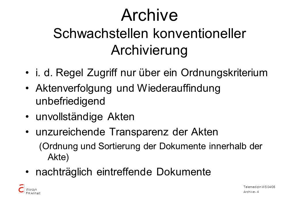 Worzyk FH Anhalt Telemedizin WS 04/05 Archive - 4 Archive Schwachstellen konventioneller Archivierung i. d. Regel Zugriff nur über ein Ordnungskriteri