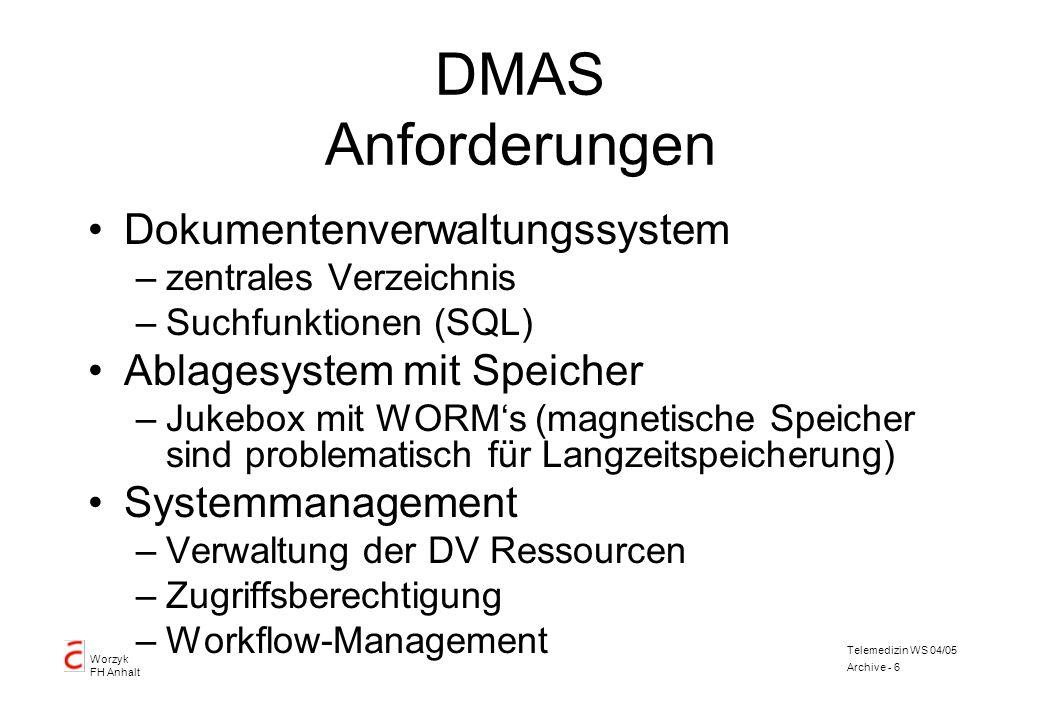 Worzyk FH Anhalt Telemedizin WS 04/05 Archive - 6 DMAS Anforderungen Dokumentenverwaltungssystem –zentrales Verzeichnis –Suchfunktionen (SQL) Ablagesy