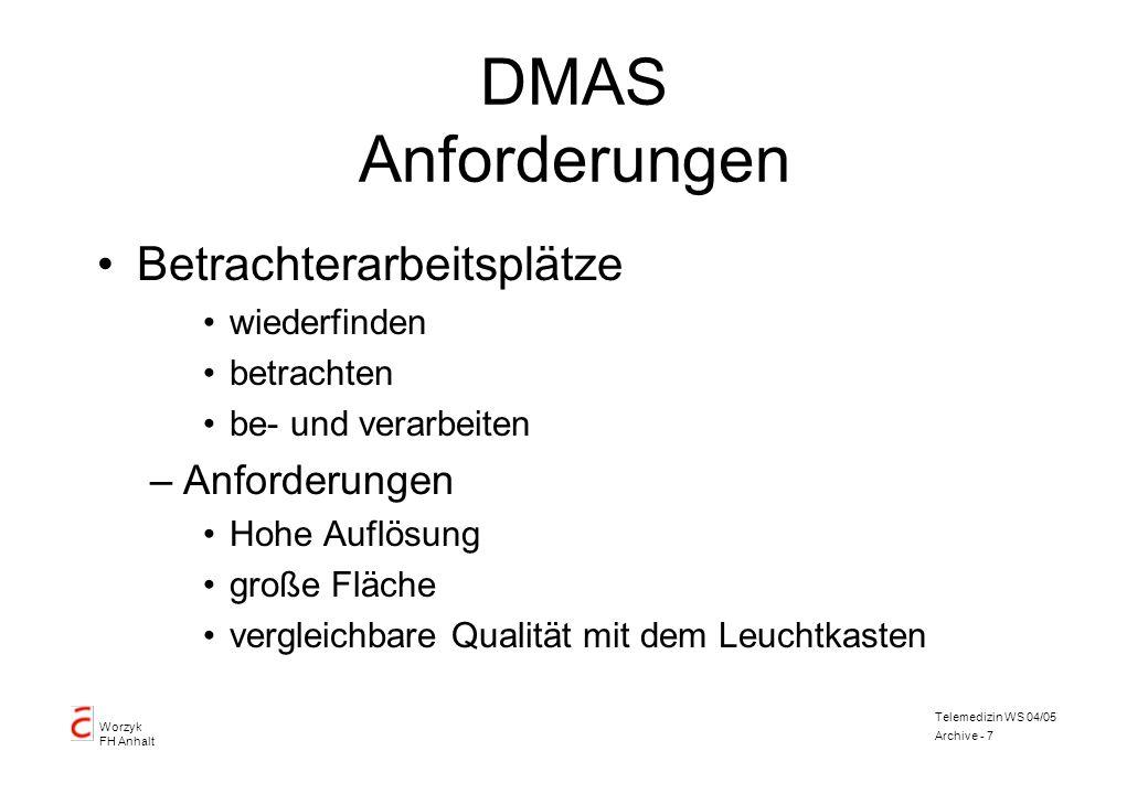 Worzyk FH Anhalt Telemedizin WS 04/05 Archive - 7 DMAS Anforderungen Betrachterarbeitsplätze wiederfinden betrachten be- und verarbeiten –Anforderunge