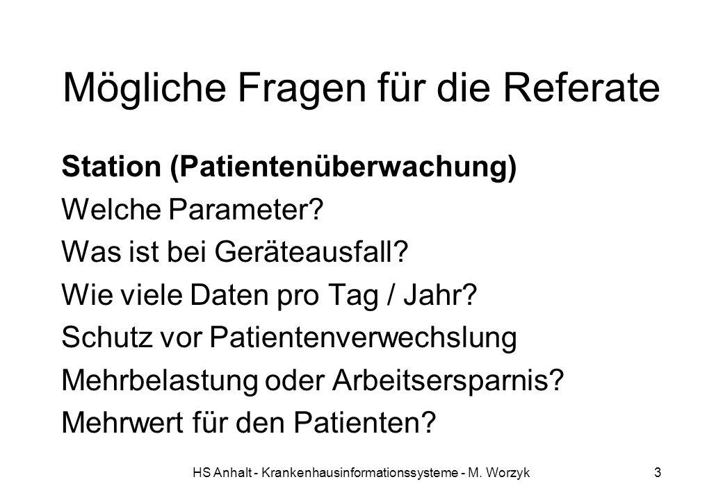 HS Anhalt - Krankenhausinformationssysteme - M. Worzyk3 Mögliche Fragen für die Referate Station (Patientenüberwachung) Welche Parameter? Was ist bei