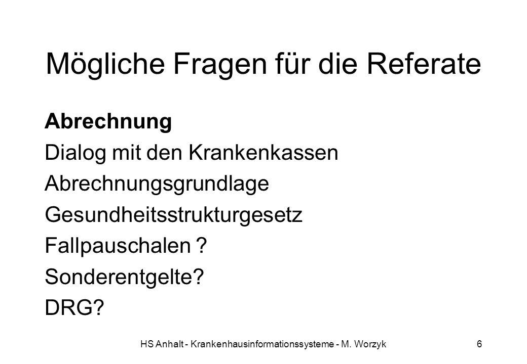 HS Anhalt - Krankenhausinformationssysteme - M.