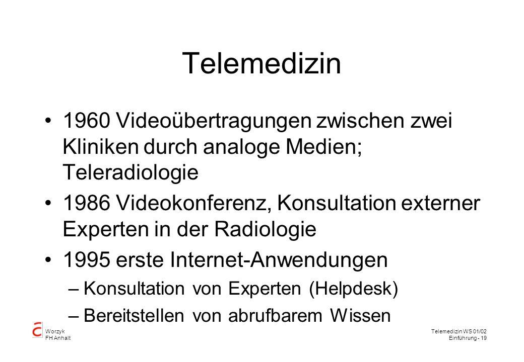 Worzyk FH Anhalt Telemedizin WS 01/02 Einführung - 19 Telemedizin 1960 Videoübertragungen zwischen zwei Kliniken durch analoge Medien; Teleradiologie 1986 Videokonferenz, Konsultation externer Experten in der Radiologie 1995 erste Internet-Anwendungen –Konsultation von Experten (Helpdesk) –Bereitstellen von abrufbarem Wissen