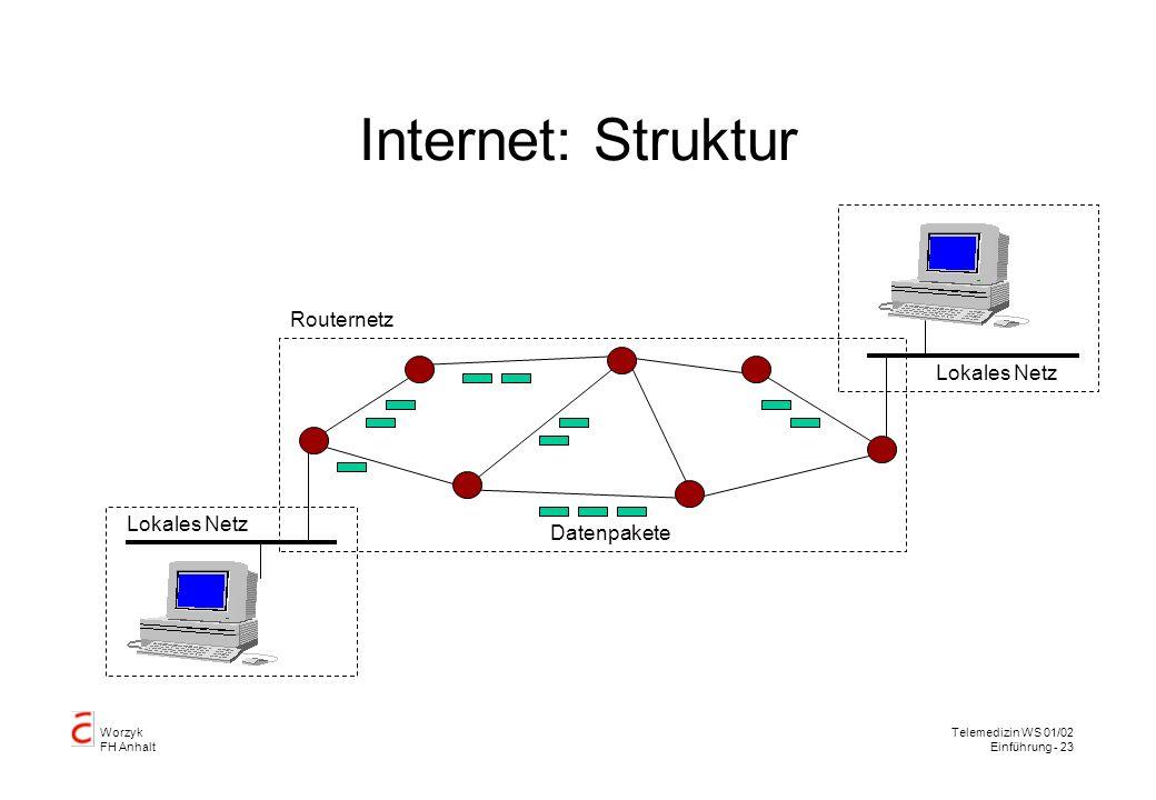 Worzyk FH Anhalt Telemedizin WS 01/02 Einführung - 23 Internet: Struktur Lokales Netz Routernetz Datenpakete