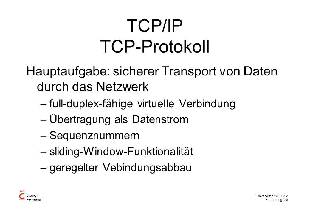Worzyk FH Anhalt Telemedizin WS 01/02 Einführung - 26 TCP/IP TCP-Protokoll Hauptaufgabe: sicherer Transport von Daten durch das Netzwerk –full-duplex-fähige virtuelle Verbindung –Übertragung als Datenstrom –Sequenznummern –sliding-Window-Funktionalität –geregelter Vebindungsabbau