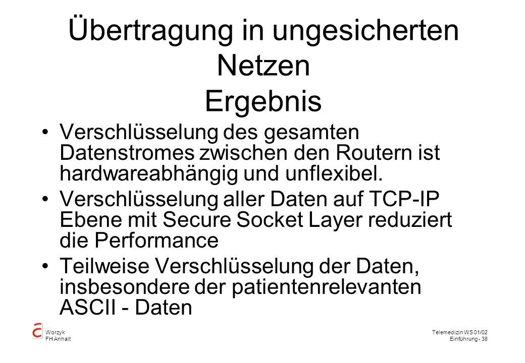 Worzyk FH Anhalt Telemedizin WS 01/02 Einführung - 38 Übertragung in ungesicherten Netzen Ergebnis Verschlüsselung des gesamten Datenstromes zwischen den Routern ist hardwareabhängig und unflexibel.