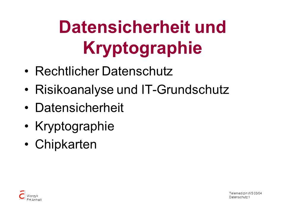 Telemedizin WS 03/04 Datenschutz 1 Worzyk FH Anhalt Datensicherheit und Kryptographie Rechtlicher Datenschutz Risikoanalyse und IT-Grundschutz Datensi