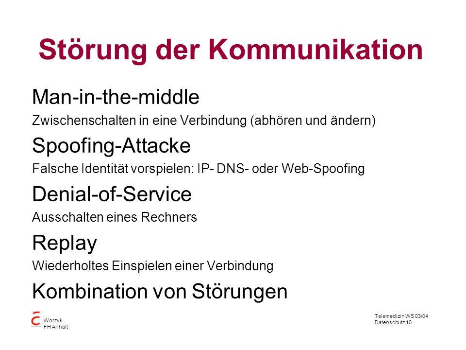 Telemedizin WS 03/04 Datenschutz 10 Worzyk FH Anhalt Störung der Kommunikation Man-in-the-middle Zwischenschalten in eine Verbindung (abhören und ände