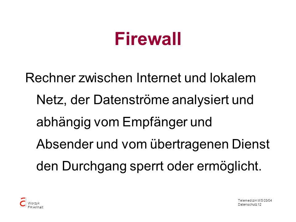 Telemedizin WS 03/04 Datenschutz 12 Worzyk FH Anhalt Firewall Rechner zwischen Internet und lokalem Netz, der Datenströme analysiert und abhängig vom