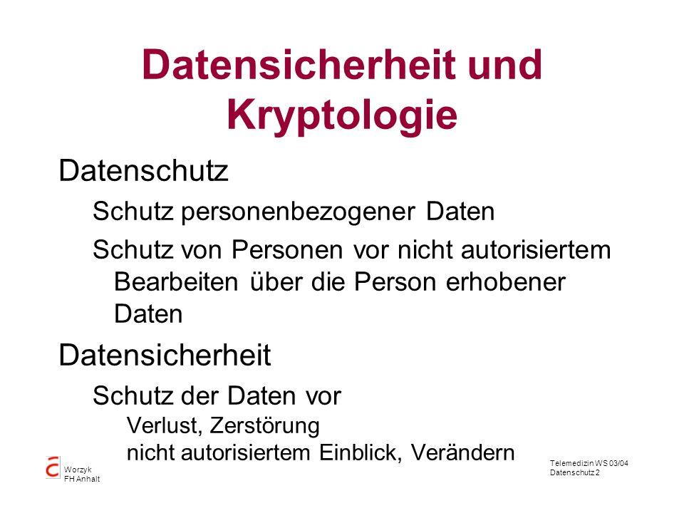 Telemedizin WS 03/04 Datenschutz 2 Worzyk FH Anhalt Datensicherheit und Kryptologie Datenschutz Schutz personenbezogener Daten Schutz von Personen vor