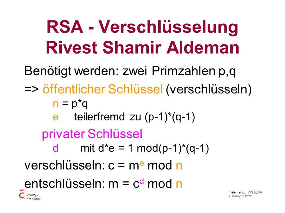 Telemedizin WS 03/04 Datenschutz 22 Worzyk FH Anhalt RSA - Verschlüsselung Rivest Shamir Aldeman Benötigt werden: zwei Primzahlen p,q => öffentlicher