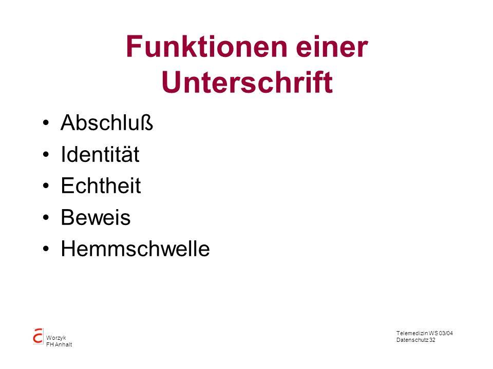 Telemedizin WS 03/04 Datenschutz 32 Worzyk FH Anhalt Funktionen einer Unterschrift Abschluß Identität Echtheit Beweis Hemmschwelle