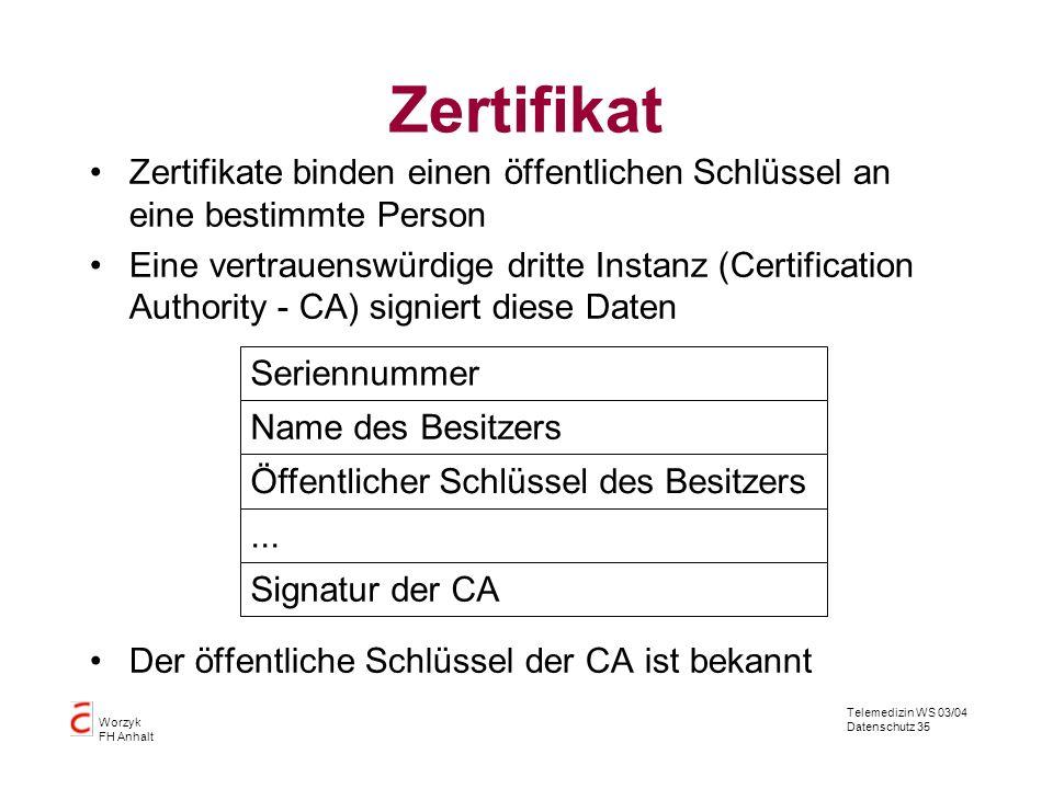 Telemedizin WS 03/04 Datenschutz 35 Worzyk FH Anhalt Zertifikat Zertifikate binden einen öffentlichen Schlüssel an eine bestimmte Person Eine vertraue