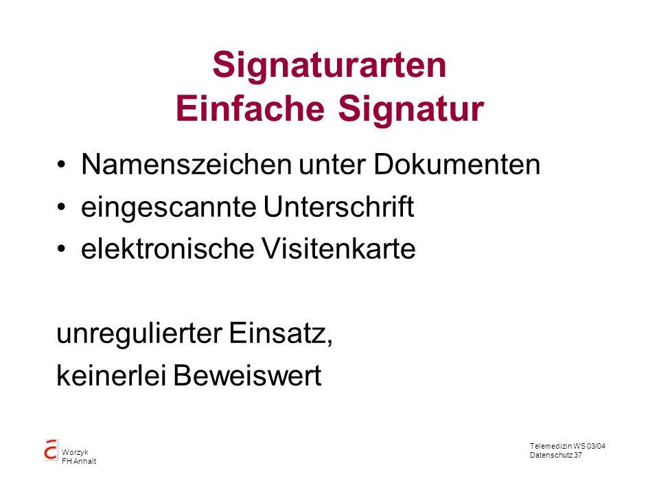 Telemedizin WS 03/04 Datenschutz 37 Worzyk FH Anhalt Signaturarten Einfache Signatur Namenszeichen unter Dokumenten eingescannte Unterschrift elektron