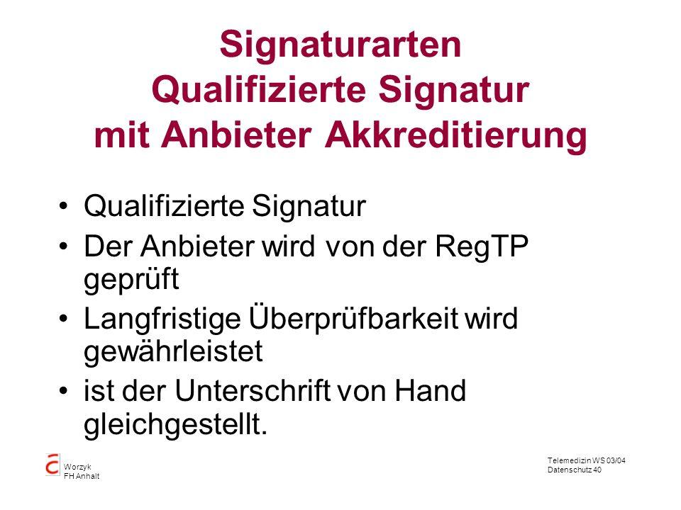 Telemedizin WS 03/04 Datenschutz 40 Worzyk FH Anhalt Signaturarten Qualifizierte Signatur mit Anbieter Akkreditierung Qualifizierte Signatur Der Anbie