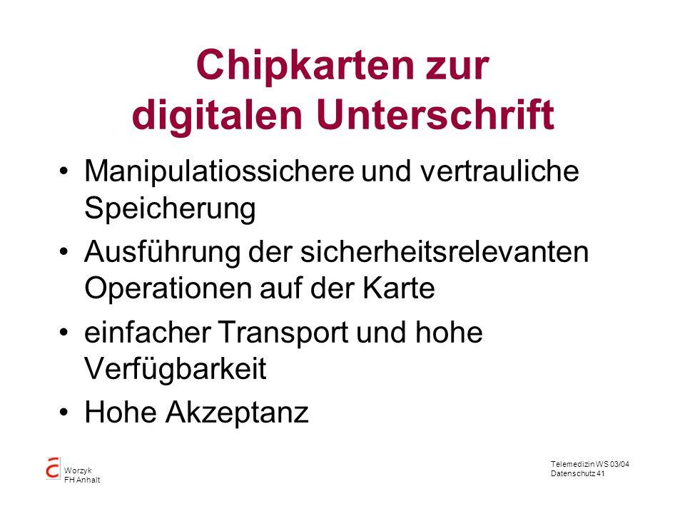 Telemedizin WS 03/04 Datenschutz 41 Worzyk FH Anhalt Chipkarten zur digitalen Unterschrift Manipulatiossichere und vertrauliche Speicherung Ausführung