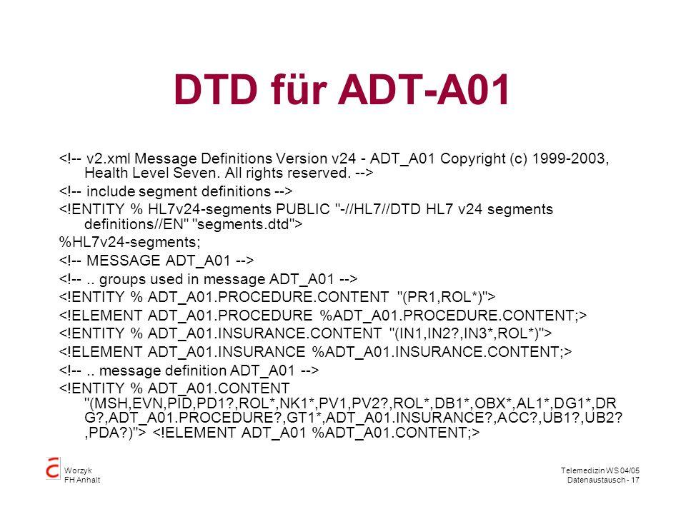 Worzyk FH Anhalt Telemedizin WS 04/05 Datenaustausch - 17 DTD für ADT-A01 %HL7v24-segments;