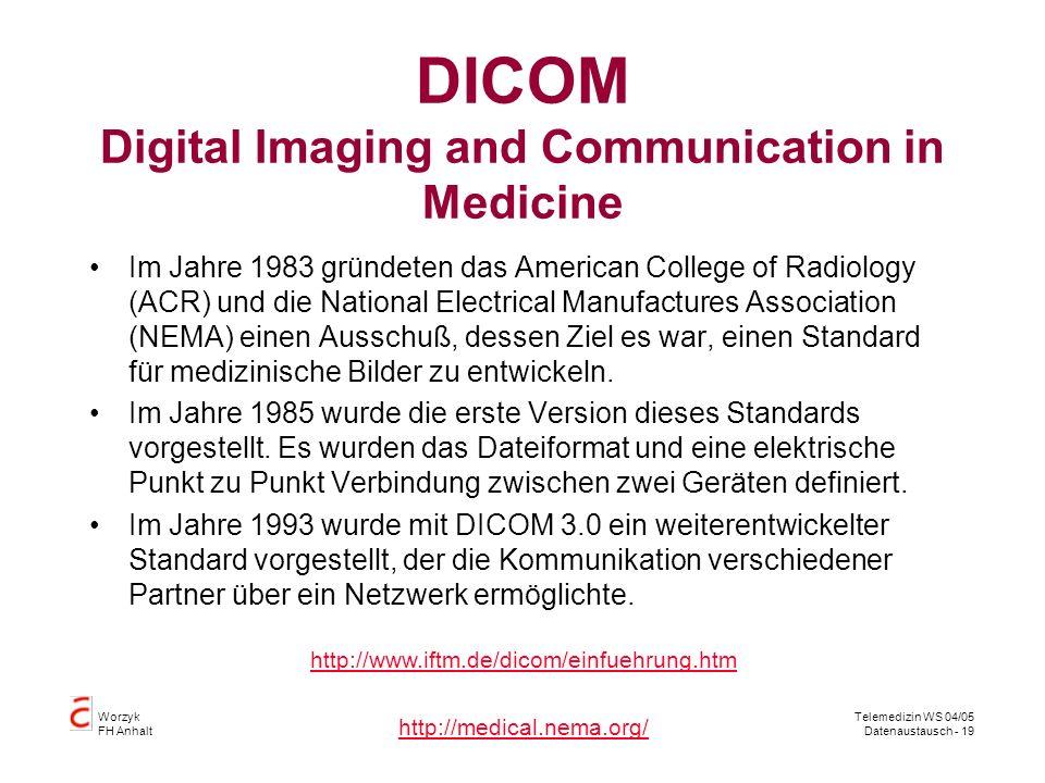 Worzyk FH Anhalt Telemedizin WS 04/05 Datenaustausch - 19 DICOM Digital Imaging and Communication in Medicine Im Jahre 1983 gründeten das American College of Radiology (ACR) und die National Electrical Manufactures Association (NEMA) einen Ausschuß, dessen Ziel es war, einen Standard für medizinische Bilder zu entwickeln.