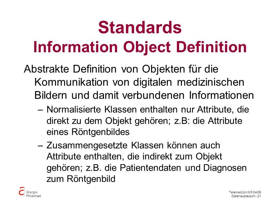Worzyk FH Anhalt Telemedizin WS 04/05 Datenaustausch - 21 Standards Information Object Definition Abstrakte Definition von Objekten für die Kommunikation von digitalen medizinischen Bildern und damit verbundenen Informationen –Normalisierte Klassen enthalten nur Attribute, die direkt zu dem Objekt gehören; z.B: die Attribute eines Röntgenbildes –Zusammengesetzte Klassen können auch Attribute enthalten, die indirekt zum Objekt gehören; z.B.