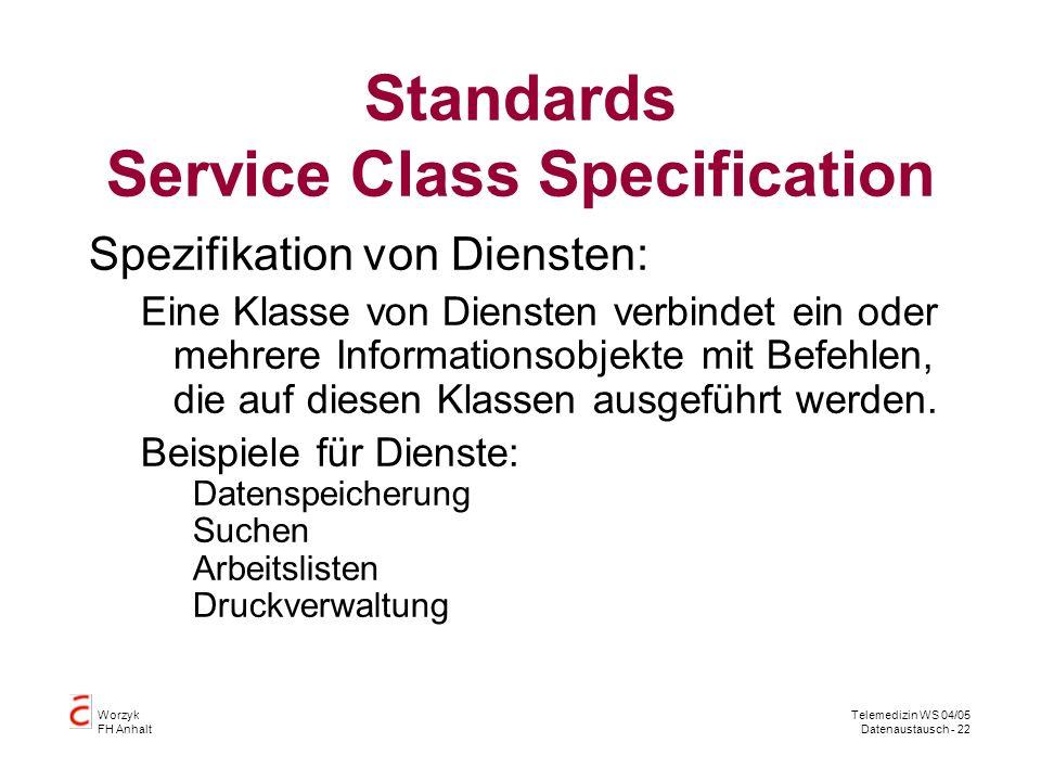 Worzyk FH Anhalt Telemedizin WS 04/05 Datenaustausch - 22 Standards Service Class Specification Spezifikation von Diensten: Eine Klasse von Diensten verbindet ein oder mehrere Informationsobjekte mit Befehlen, die auf diesen Klassen ausgeführt werden.