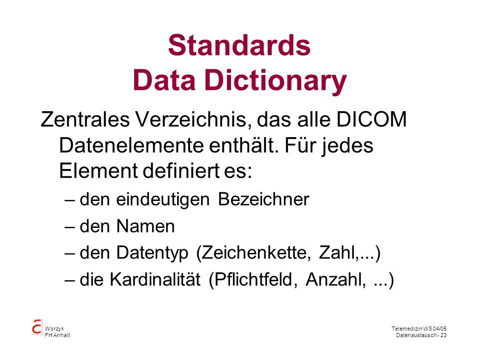 Worzyk FH Anhalt Telemedizin WS 04/05 Datenaustausch - 23 Standards Data Dictionary Zentrales Verzeichnis, das alle DICOM Datenelemente enthält.