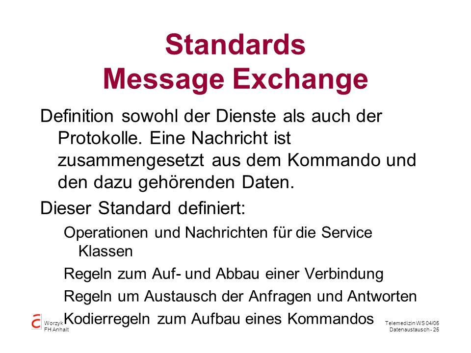 Worzyk FH Anhalt Telemedizin WS 04/05 Datenaustausch - 25 Standards Message Exchange Definition sowohl der Dienste als auch der Protokolle.