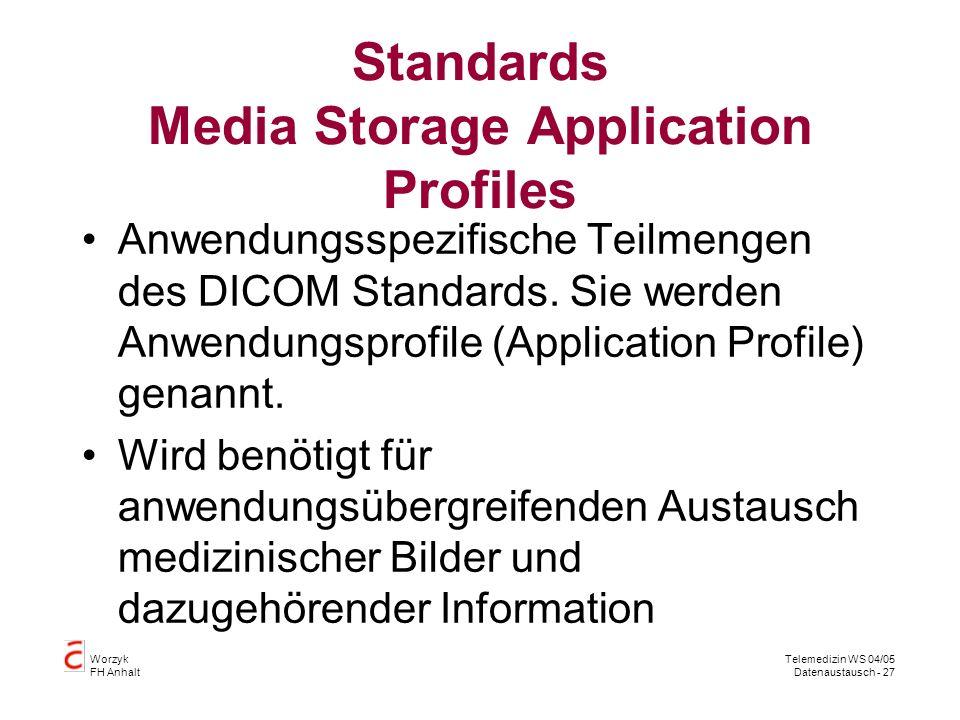 Worzyk FH Anhalt Telemedizin WS 04/05 Datenaustausch - 27 Standards Media Storage Application Profiles Anwendungsspezifische Teilmengen des DICOM Standards.