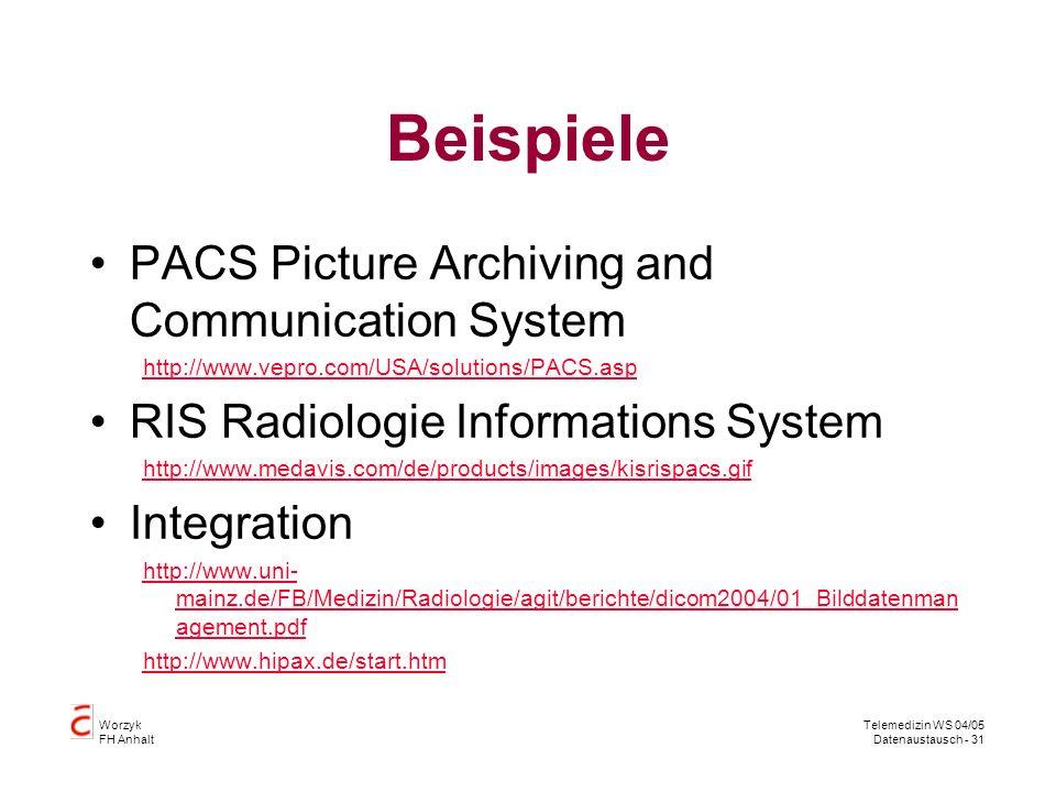 Worzyk FH Anhalt Telemedizin WS 04/05 Datenaustausch - 31 Beispiele PACS Picture Archiving and Communication System http://www.vepro.com/USA/solutions/PACS.asp RIS Radiologie Informations System http://www.medavis.com/de/products/images/kisrispacs.gif Integration http://www.uni- mainz.de/FB/Medizin/Radiologie/agit/berichte/dicom2004/01_Bilddatenman agement.pdf http://www.hipax.de/start.htm