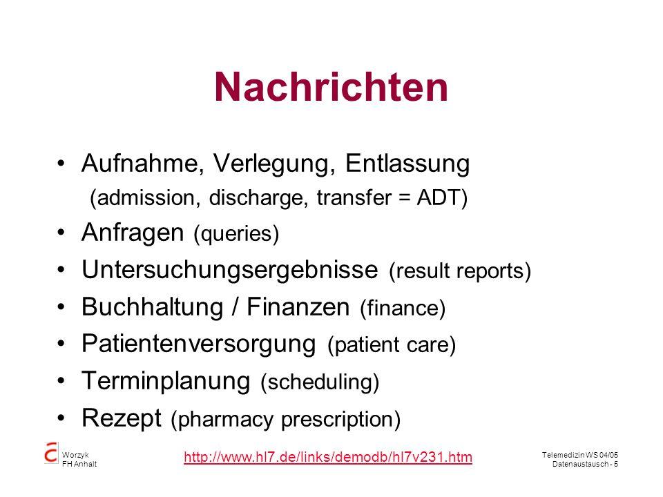 Worzyk FH Anhalt Telemedizin WS 04/05 Datenaustausch - 5 Nachrichten Aufnahme, Verlegung, Entlassung (admission, discharge, transfer = ADT) Anfragen (queries) Untersuchungsergebnisse (result reports) Buchhaltung / Finanzen (finance) Patientenversorgung (patient care) Terminplanung (scheduling) Rezept (pharmacy prescription) http://www.hl7.de/links/demodb/hl7v231.htm
