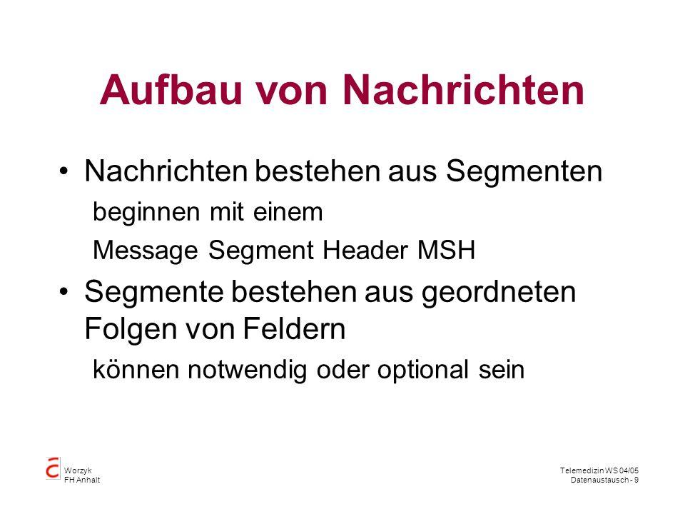 Worzyk FH Anhalt Telemedizin WS 04/05 Datenaustausch - 9 Aufbau von Nachrichten Nachrichten bestehen aus Segmenten beginnen mit einem Message Segment Header MSH Segmente bestehen aus geordneten Folgen von Feldern können notwendig oder optional sein