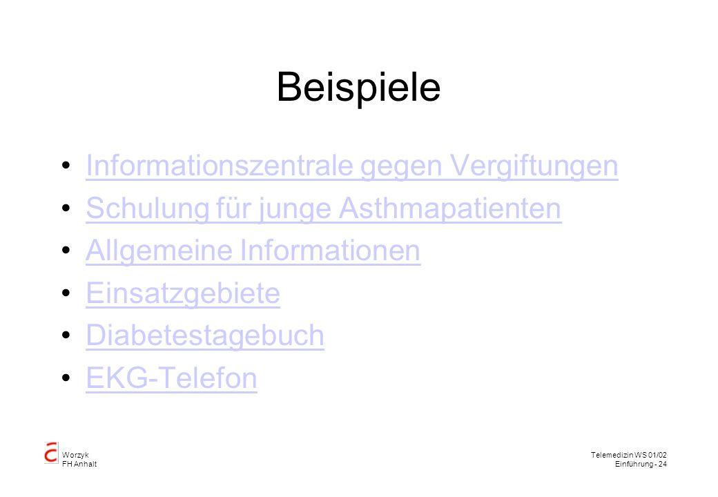 Worzyk FH Anhalt Telemedizin WS 01/02 Einführung - 24 Beispiele Informationszentrale gegen Vergiftungen Schulung für junge Asthmapatienten Allgemeine