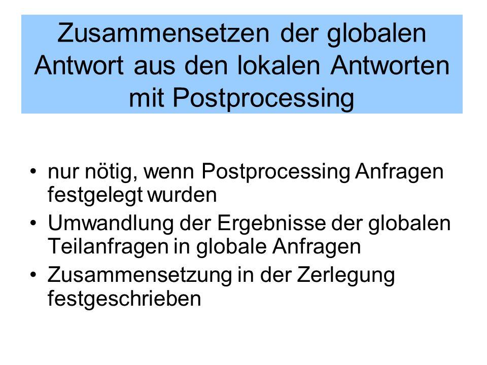 Zusammensetzen der globalen Antwort aus den lokalen Antworten mit Postprocessing nur nötig, wenn Postprocessing Anfragen festgelegt wurden Umwandlung
