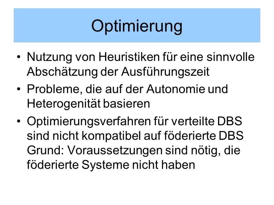 Optimierung Nutzung von Heuristiken für eine sinnvolle Abschätzung der Ausführungszeit Probleme, die auf der Autonomie und Heterogenität basieren Opti