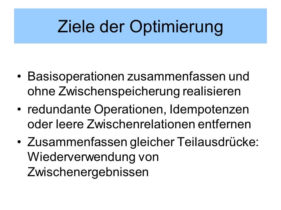 Ziele der Optimierung Basisoperationen zusammenfassen und ohne Zwischenspeicherung realisieren redundante Operationen, Idempotenzen oder leere Zwische