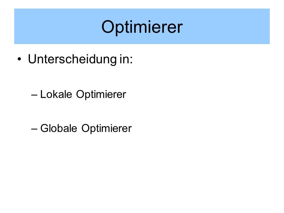 Optimierer Unterscheidung in: –Lokale Optimierer –Globale Optimierer