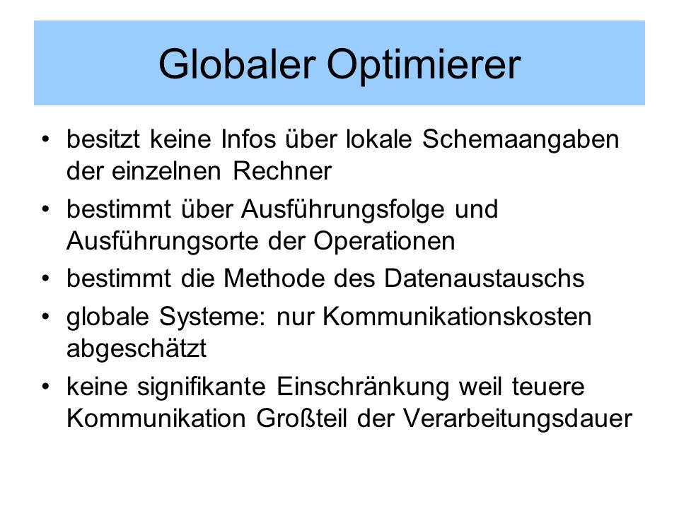 Globaler Optimierer besitzt keine Infos über lokale Schemaangaben der einzelnen Rechner bestimmt über Ausführungsfolge und Ausführungsorte der Operati
