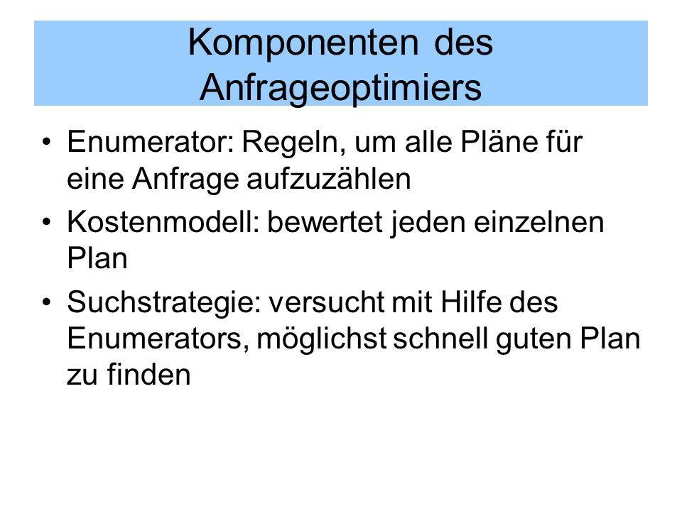 Komponenten des Anfrageoptimiers Enumerator: Regeln, um alle Pläne für eine Anfrage aufzuzählen Kostenmodell: bewertet jeden einzelnen Plan Suchstrate