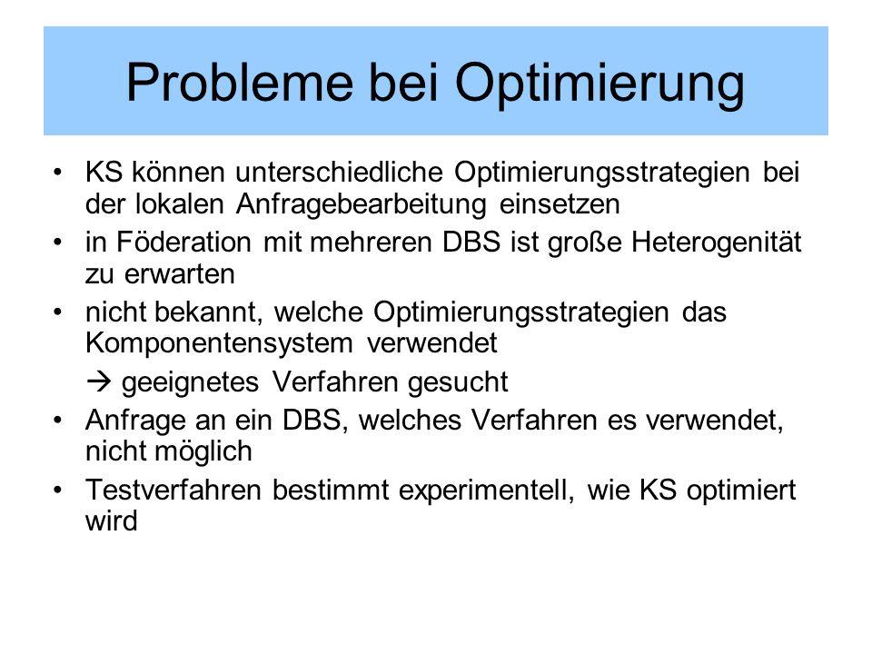 Probleme bei Optimierung KS können unterschiedliche Optimierungsstrategien bei der lokalen Anfragebearbeitung einsetzen in Föderation mit mehreren DBS