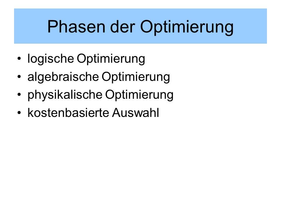 Phasen der Optimierung logische Optimierung algebraische Optimierung physikalische Optimierung kostenbasierte Auswahl